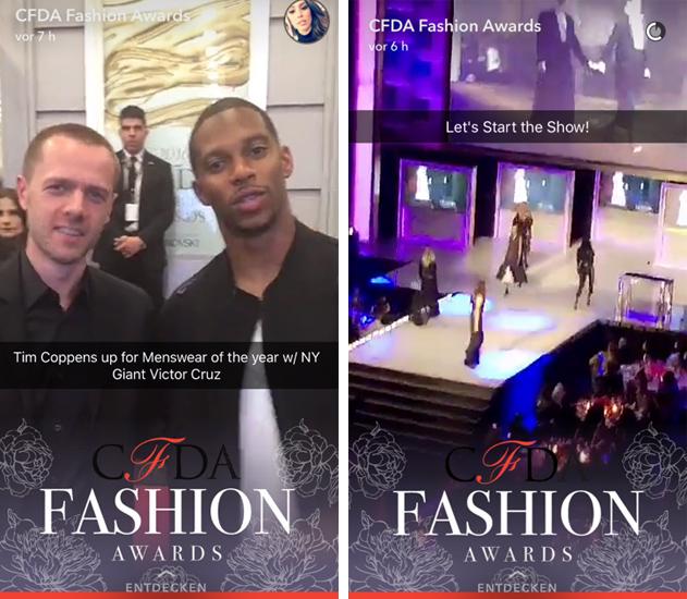 Storytelling 2.0: Beim unverhüllten Einblick hinter die Kulissen des CDFA Fashion Awards via Snapchat Story wird sogar ein Redakteur zum Modefan. Bildquelle: Eigener Screenshot