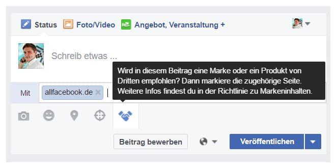 Branded Content dank verifizierter Facebook-Fanpage.