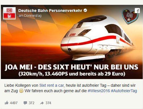 Die Deutsche Bahn feuerte eine Spitze Richtung Sixt ab.