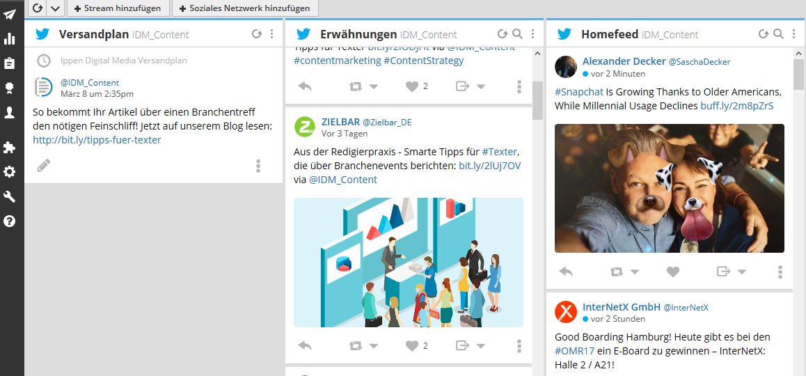 IDM_we love content_Inhalte kuratieren_screenshot hootsuite