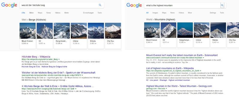 Google Deutschland und Google USA zeigen das gleiche Feature Snippet.