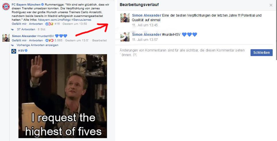 So nutzt ein HSV-Fan die Kommentarfunktion bei Facebook für einen Seitenhieb gegen den FCB.