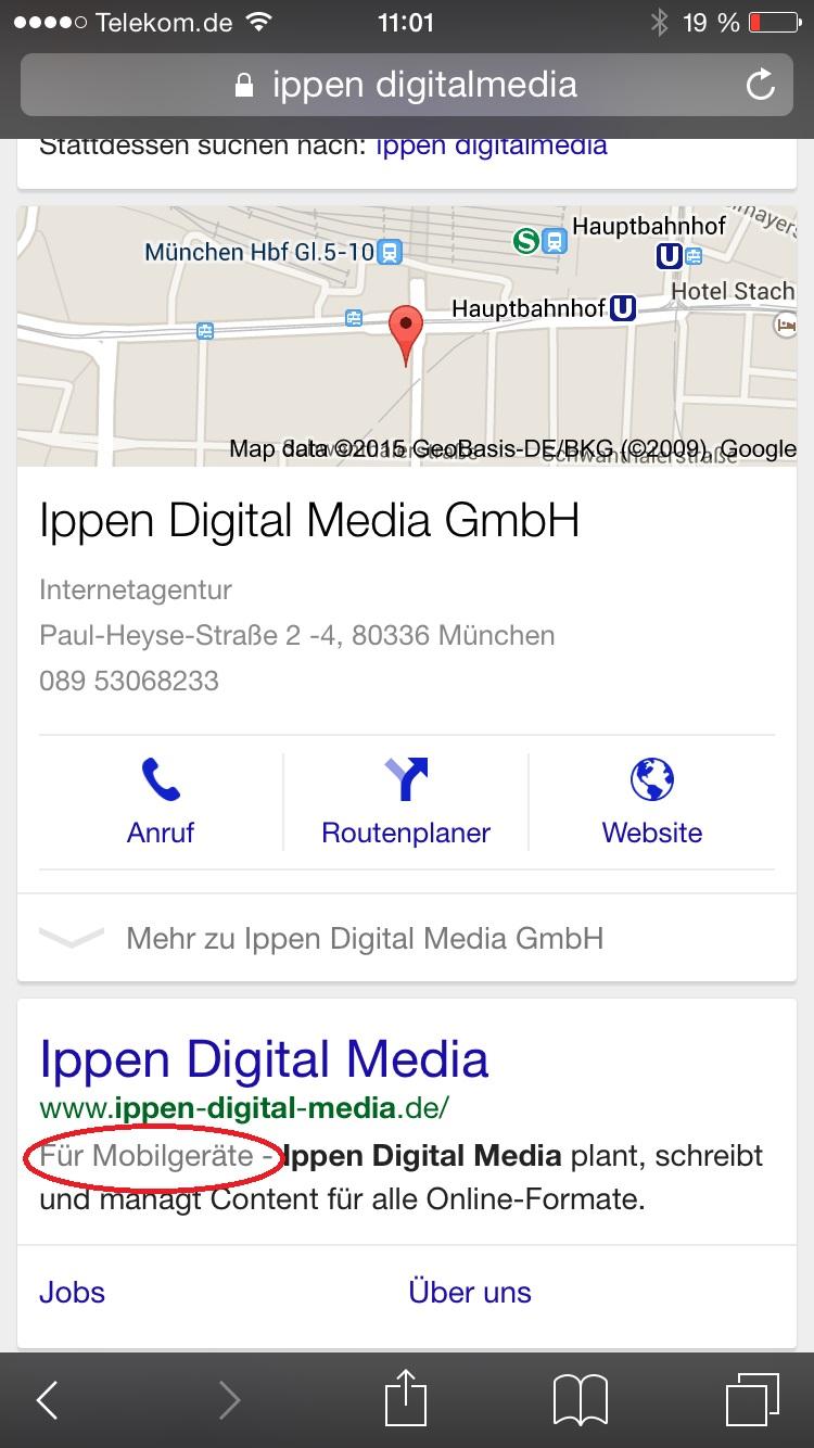 Google kennzeichnet Seite, die auf mobile Endgeräte optmiert sind.