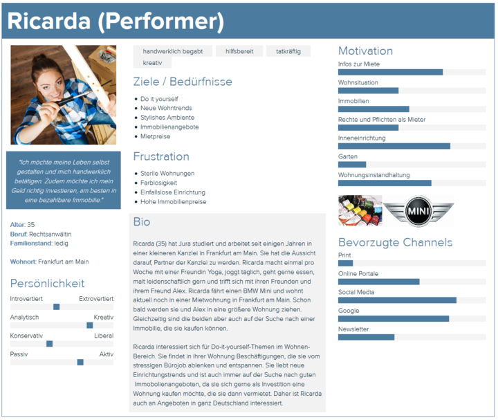 Unsere Beispiel-Persona Ricarda ist eine Performerin.